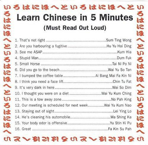 Learning Chinese in 5 minutes