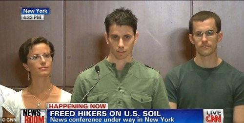 Speaking out: Joshua Fattal, centre, and Shane Bauer, right, speak in New York after being released from prison in Iran