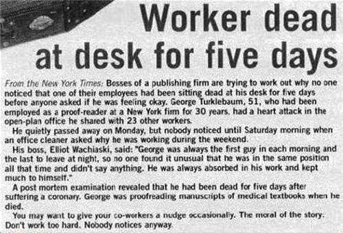 Worker dead at desk for five days