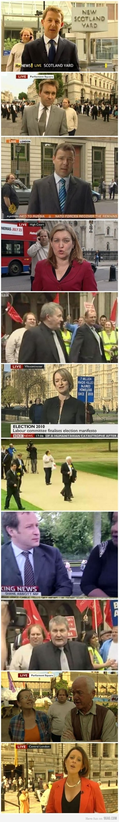 The UK's most legendary news photobomber