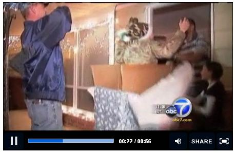 A soldier who returned home after serving in Afghanistan surprised her family by popping out of a Christmas gift.