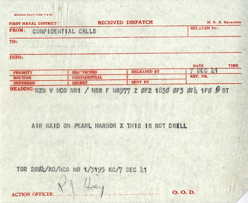 pearl harbor Radiogram
