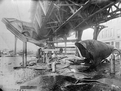 Damage to the Boston Elevated Railway due to the flood