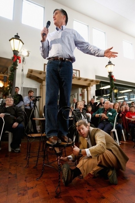 Romney guy holds chair
