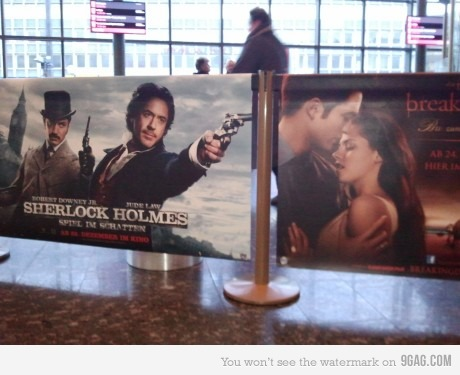 Sherlock Holmes / Twilight movie poster juxtaposition.