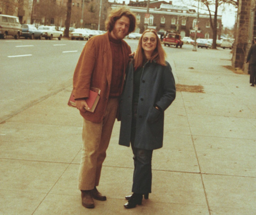 Old Photo Of President Bill Clinton And Hillary Duck
