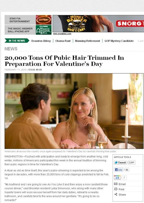Valentine's Day Breaking News from the Onion