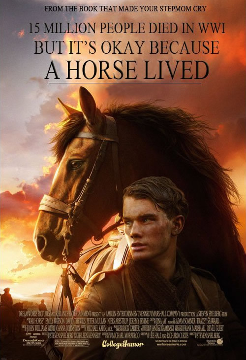 A movie poster parody of the film War Horse.