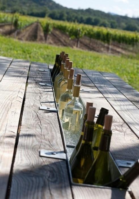 DIY picnic table drink chiller