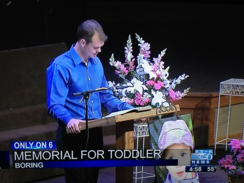 Memorial for toddler featured on the news is a tad insensitive.