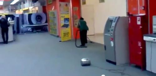Cleaning lady vacuuming fail