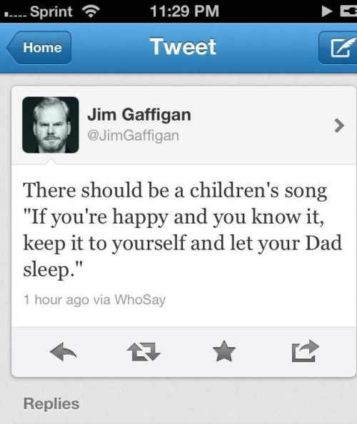 I laughed out loud this morning when I saw Gaffigan's tweet.