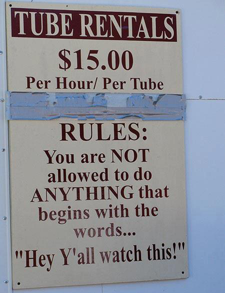 The rules of tubing clearly spelled out.