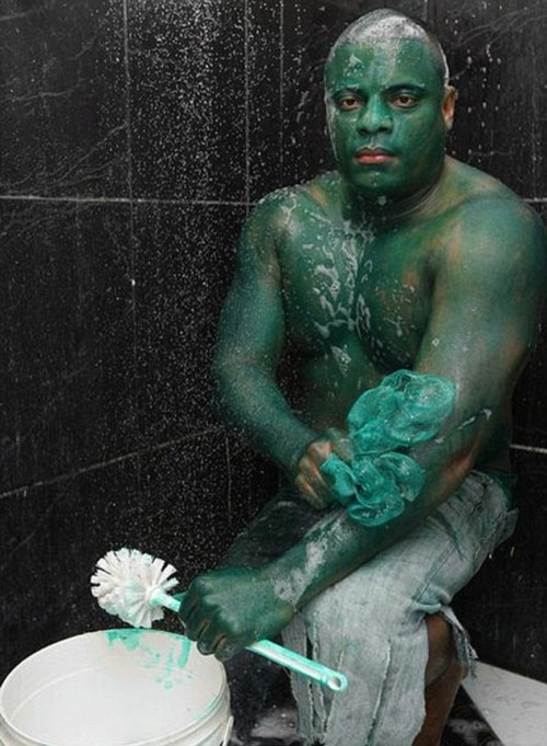 Brazilian man proved when he painted himself to look like the Incredible Hulk - and found the color wouldn't wash off.