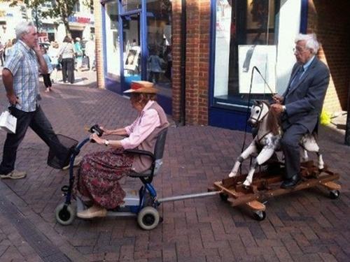 elderly being towed