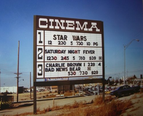 A movie marquee from 1977.