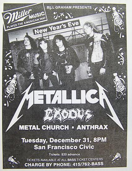 Vintage Metallica gig poster