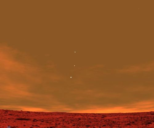 Earth, Jupiter and Venus as seen from Mars