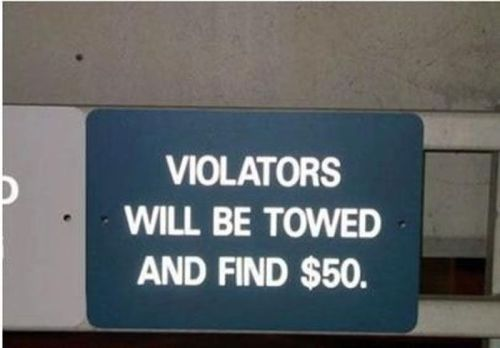 violators will be towed