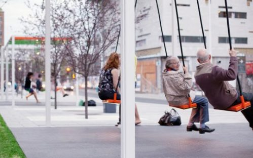 Swings installed at bus stops.