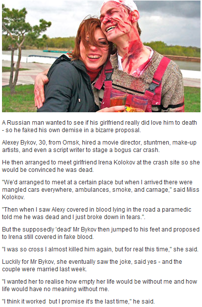 Man faked his own death to propose