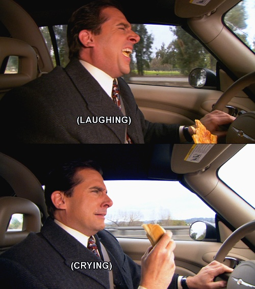 Michael Scott laughing and crying