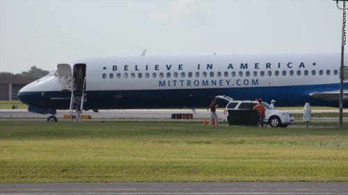 Mitt Romney takes U2's plane on the campaign trail