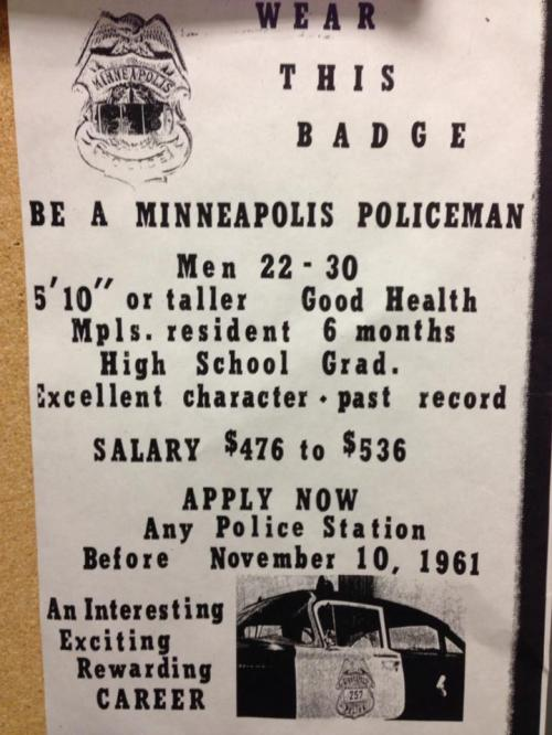 Minneapolis police recruitment poster from 1961.