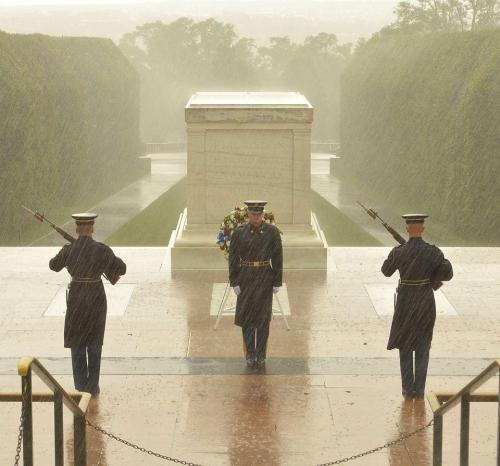 Even a hurricane won't keep the honor guard from the Tomb of the Unknown Soldier in VA this morning.