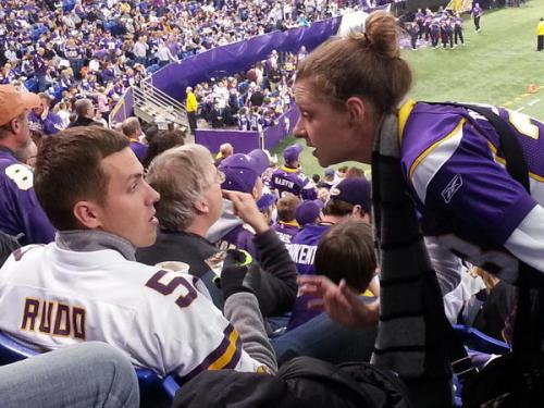 Drunk Vikings fan getting chewed out by his wife for eating ice cream with a credit card