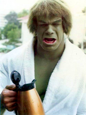 The Incredible Hulk Drinking coffee on set.