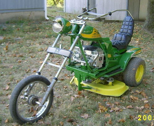 John Deere motorcycle lawn mower.