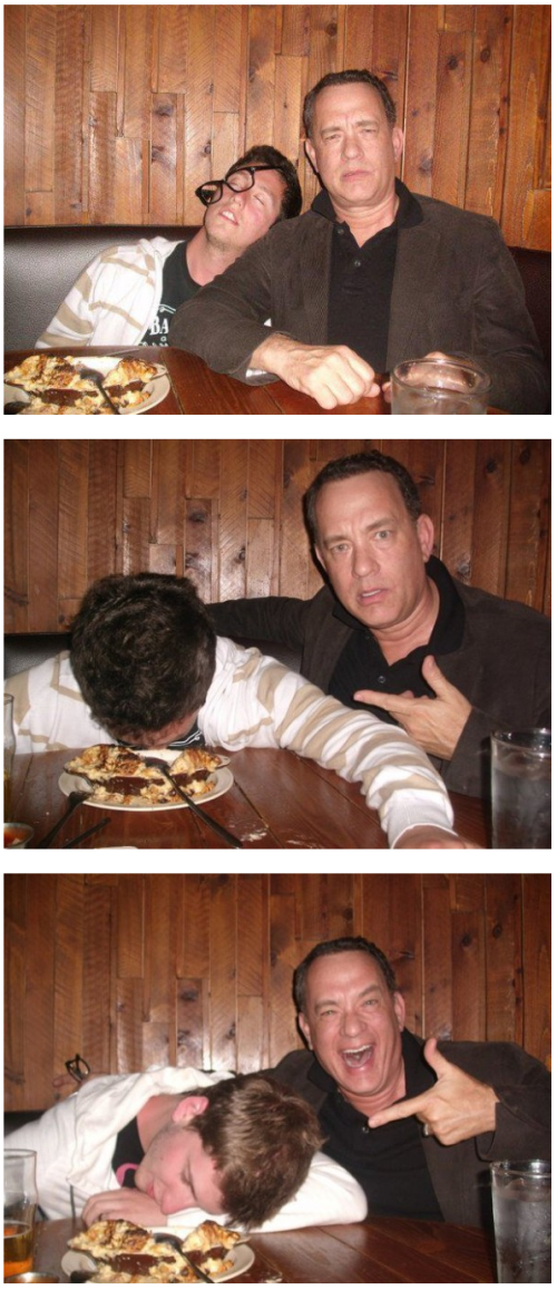 Tom Hanks takes picture with passed out drunk guy