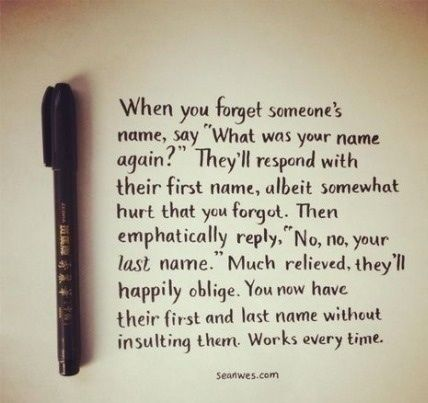 forgetting someones name