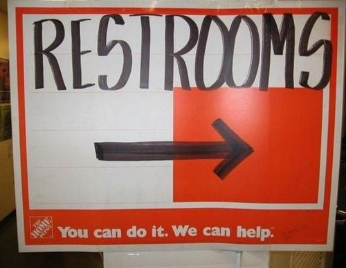 Funny Home Depot sign.