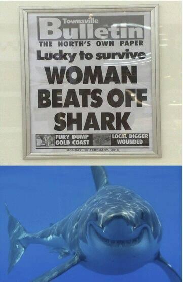 Woman Beats off Shark
