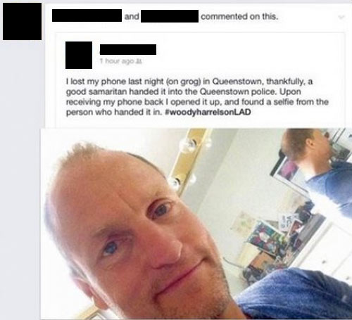 Woody Harrelson finds lost phone