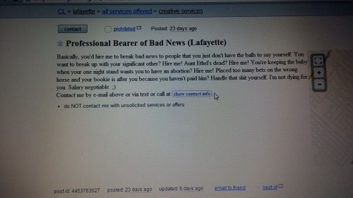 Craigslist ad for a Professional Bearer of Bad News