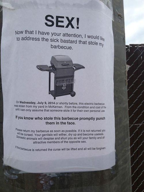 stolen barbecue
