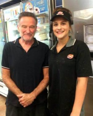 The Dairy Queen in Lindstrom, Minn., posted a Facebook photo Sunday, June 29, 2014, of actor Robin Williams posing with an employee. Williams was visiting the nearby Hazelden treatment center in Center City, Minn., according to his publicist.