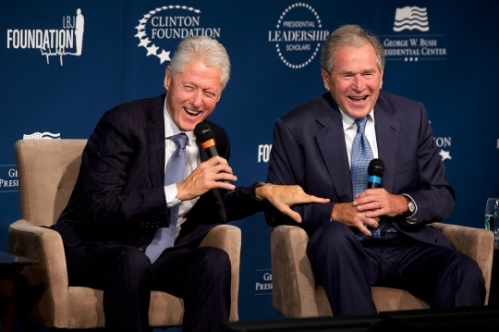 clinton-bush laughing