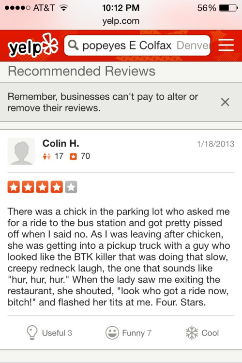 Popeyes Yelp review
