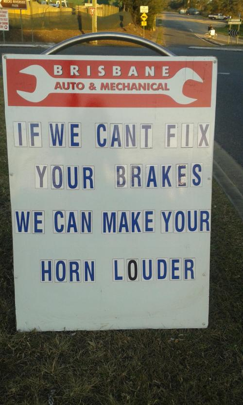 funny auto mechanic sign