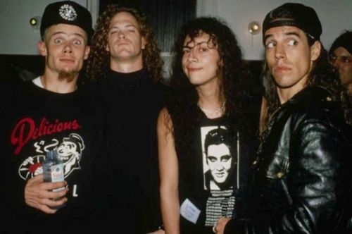 Flea, Jason Newsted, Kirk Hammet and Anthony Kiedis.