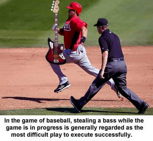 Stealing a bass in baseball
