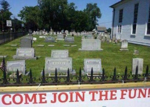 funny cemetery sign