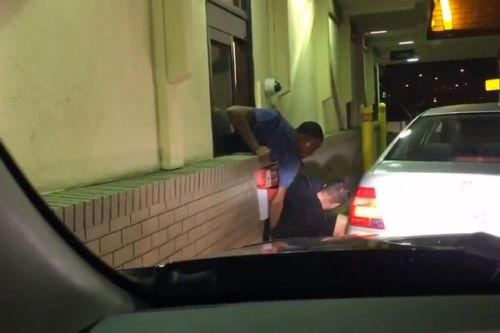 Brutal fight at a Minneapolis McDonald's drive-thru window