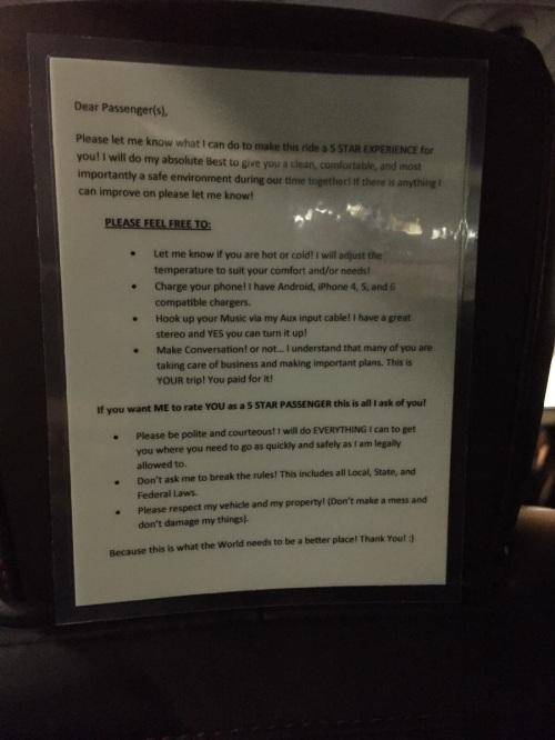 Uber Driver notice
