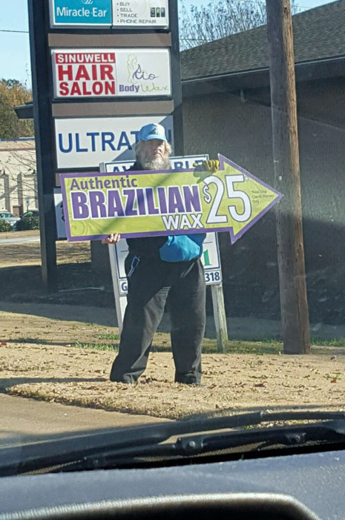 Brazilian Wax Sign Guy