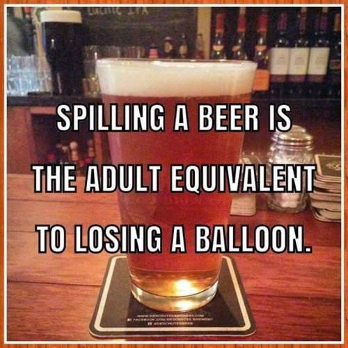spilling a beer